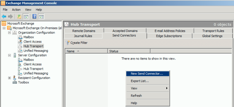 how to create send connectors in exchange 2016